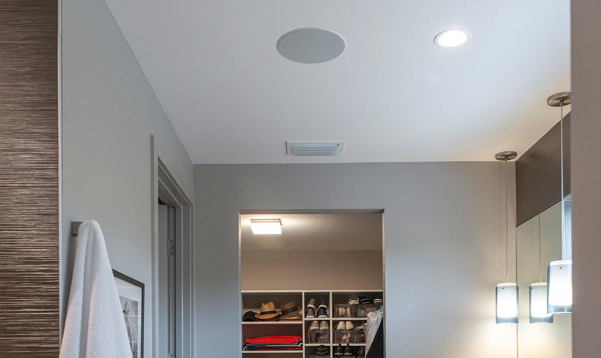 In-ceiling speakers in restroom/shower area