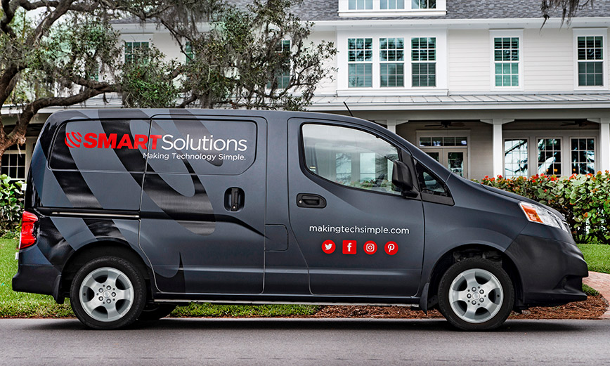 SMARTSolutions preforming a home A/V installation