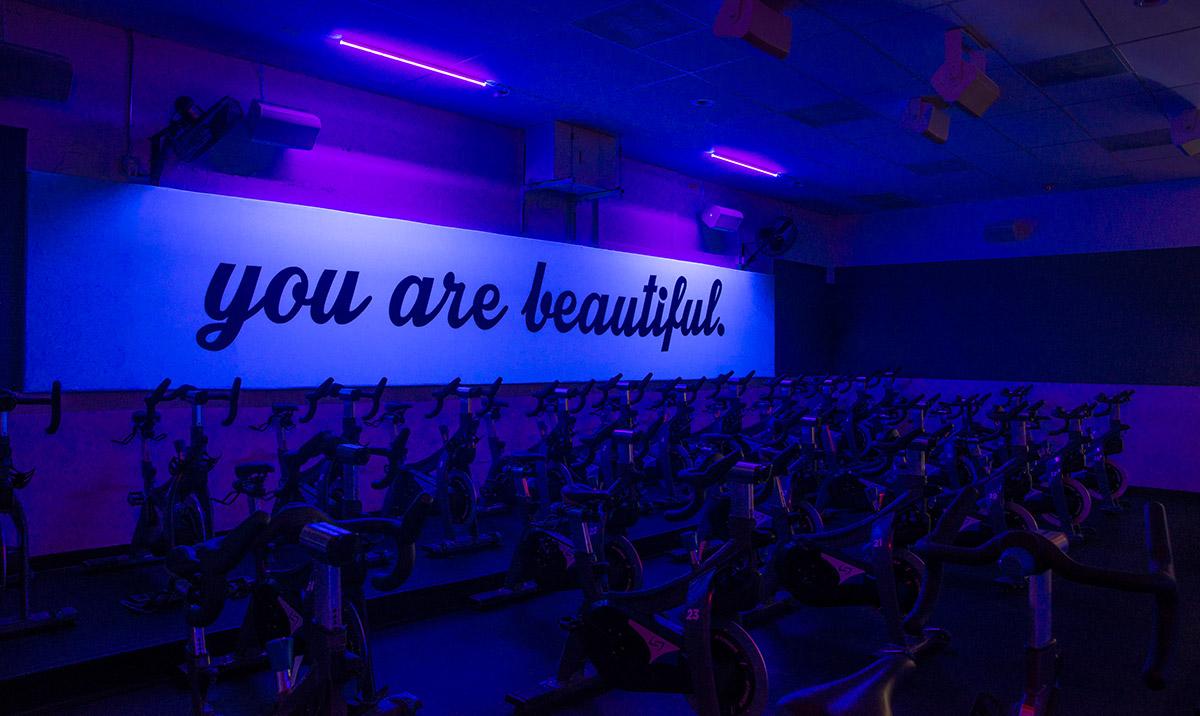 Speaker, lighting, and video installation in gym